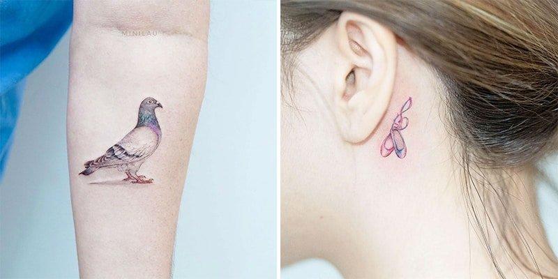 تاتو بدن کوچک و ریز کبوتر روی دست