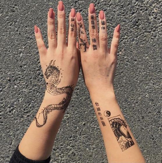 طرح تاتو شلوغ برای دو دست